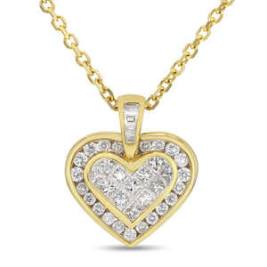 Invisible Set Diamond Heart Pendant - R&R Jewelers