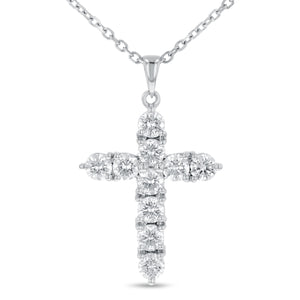 Round Brilliant Shared Prong Diamond Cross - R&R Jewelers