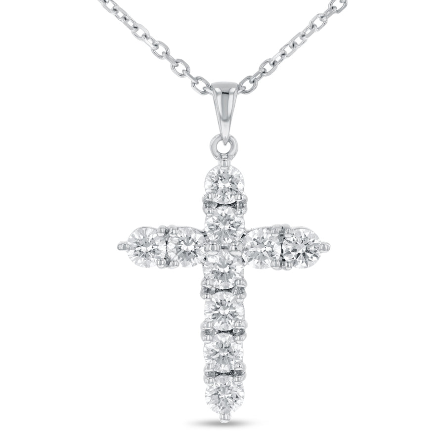 18K White Gold Cross Pendant, 1.47 Carats - R&R Jewelers