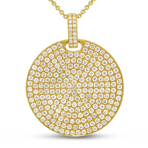 18K Yellow Gold Diamond Pendant, 3.31 Carats