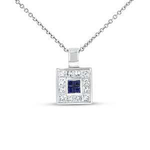 18K White Gold Sapphire and Diamond PENDANTS, 0.90 Carats