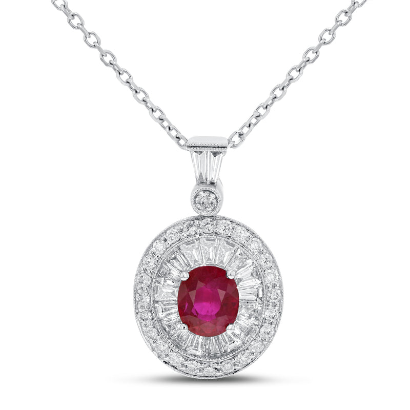 Diamond and Ruby Drop Pendant - R&R Jewelers