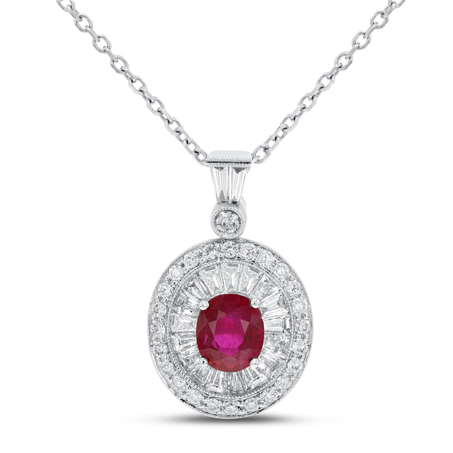 18K White Gold Diamond and Gem Pendant, 2.11 Carats