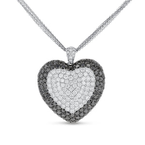 Black and White Diamond Heart Pendant - R&R Jewelers