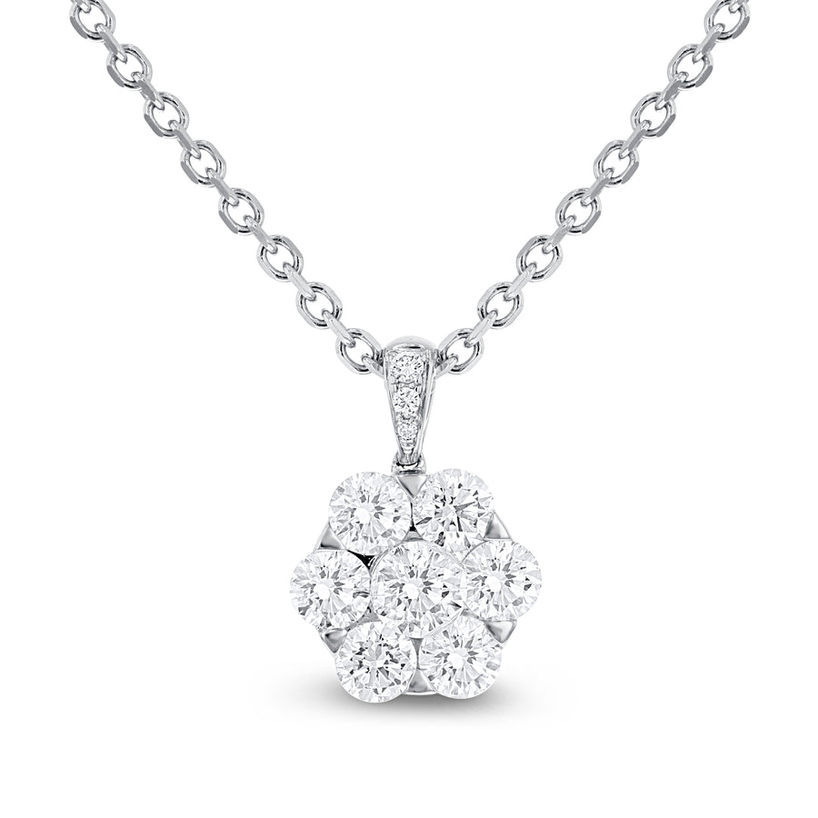 18K White Gold Diamond Pendant, 1.70 Carats - R&R Jewelers