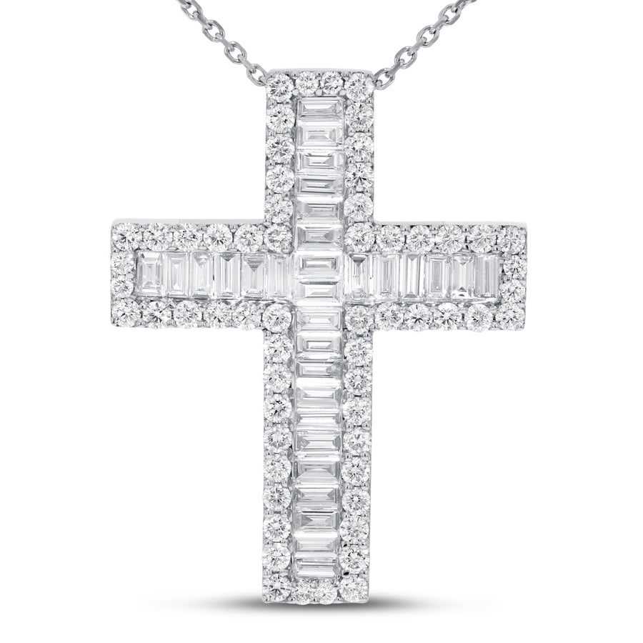 18K White Gold Cross Pendant, 4.78 Carats