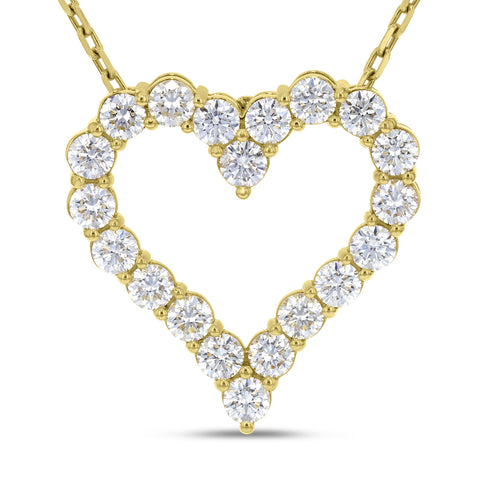 18K Yellow Gold Diamond Heart Pendant, 4.70 Carats