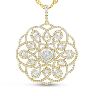 14K Rose Gold Diamond Pendant, 2.03 Carats