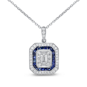 18K White Gold Diamond and Gem Pendant, 1.30 Carats