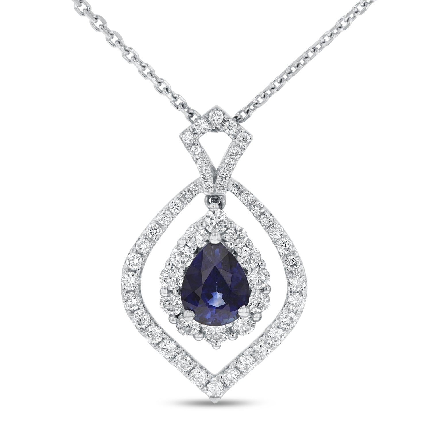 18K White Gold Diamond and Gem Pendant, 2.36 Carats