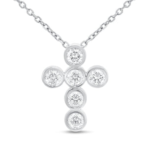18K White Gold Cross Pendant, 1.73 Carats