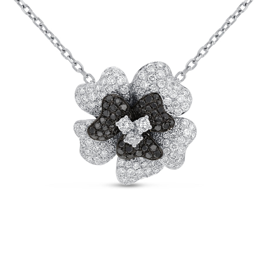 Black and White Diamond Floral Pendant - R&R Jewelers