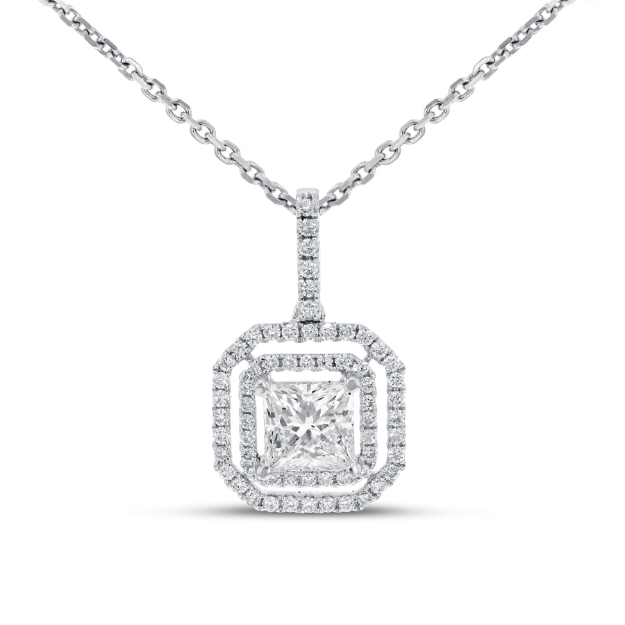 18K White Gold Diamond Pendant, 1.25 Carats