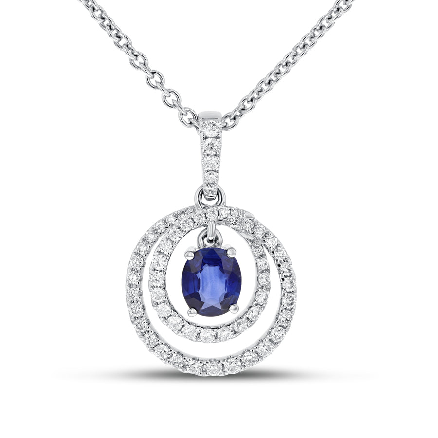 Diamond and Sapphire Halo Pendant - R&R Jewelers