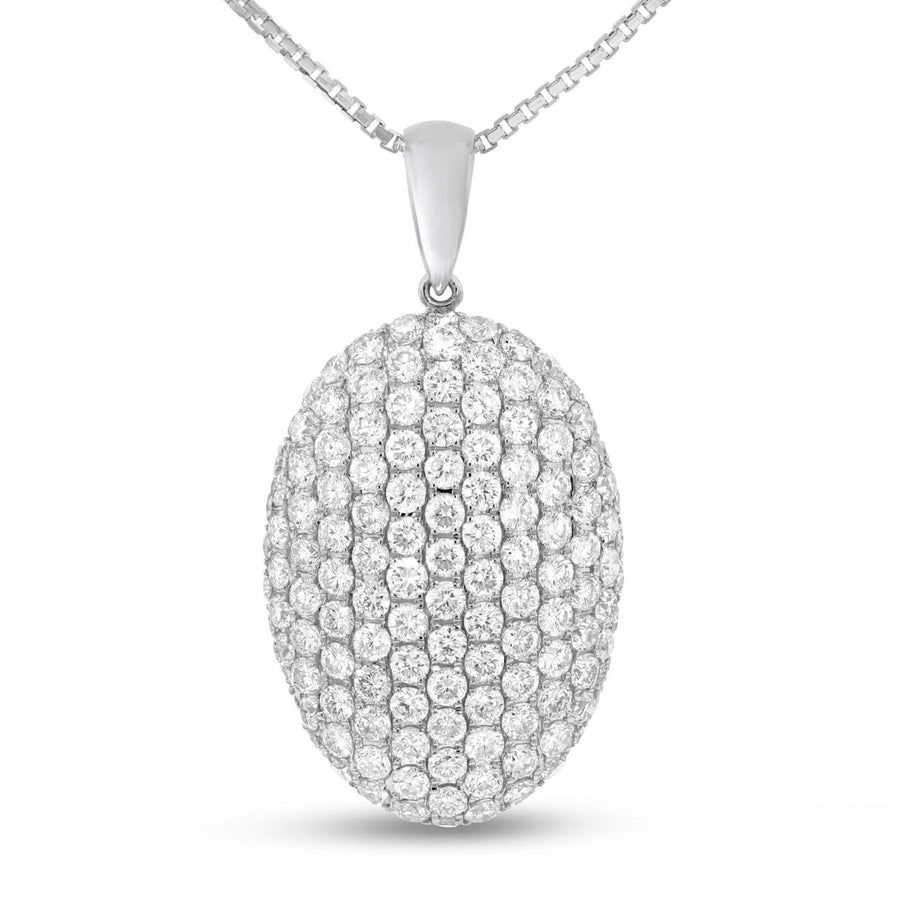 18K White Gold Diamond Pendant, 3.10 Carats