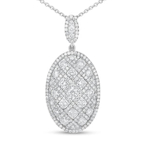 Oval Shape Diamond Drop Pendant - R&R Jewelers