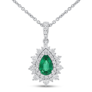 Pear Shape Emerald Halo Drop Pendant - R&R Jewelers