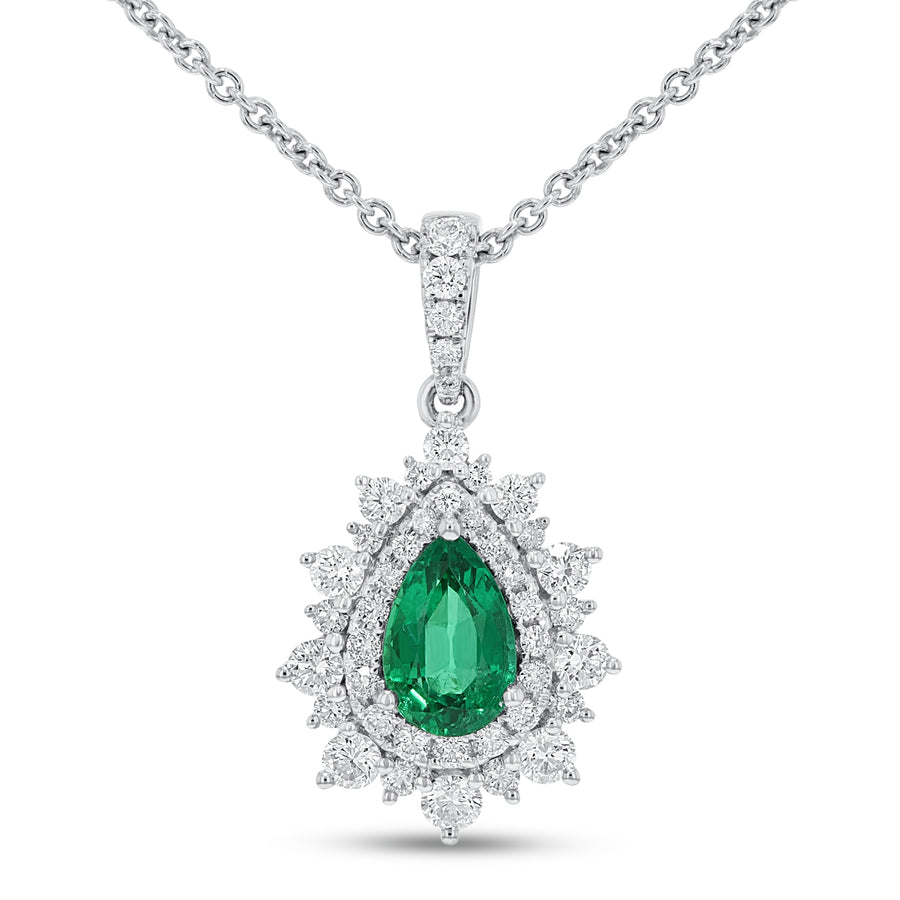 18K White Gold Diamond and Gem Pendant, 1.73 Carats - R&R Jewelers