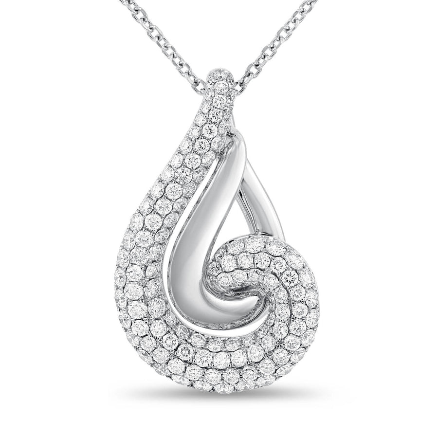 18K White Gold Diamond Pendant, 2.13 Carats - R&R Jewelers
