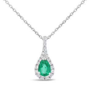 Oval Shape Emerald Drop Pendant - R&R Jewelers