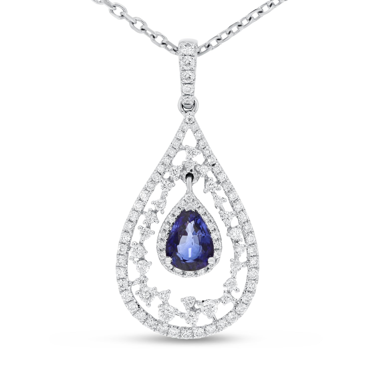 18K White Gold Diamond and Gem Pendant, 1.81 Carats