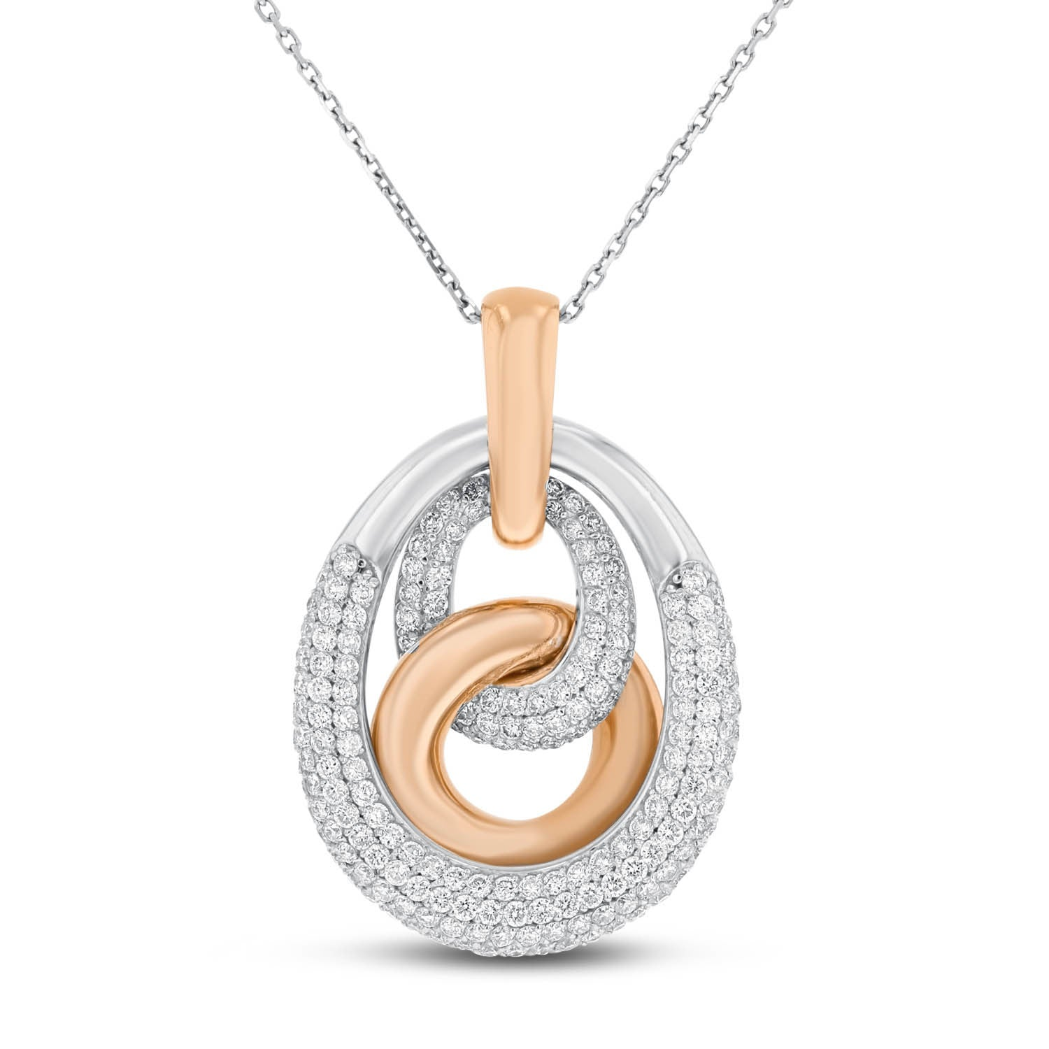 14K WHITE GOLD AND ROSE GOLD Diamond Pendant, 2.21 Carats