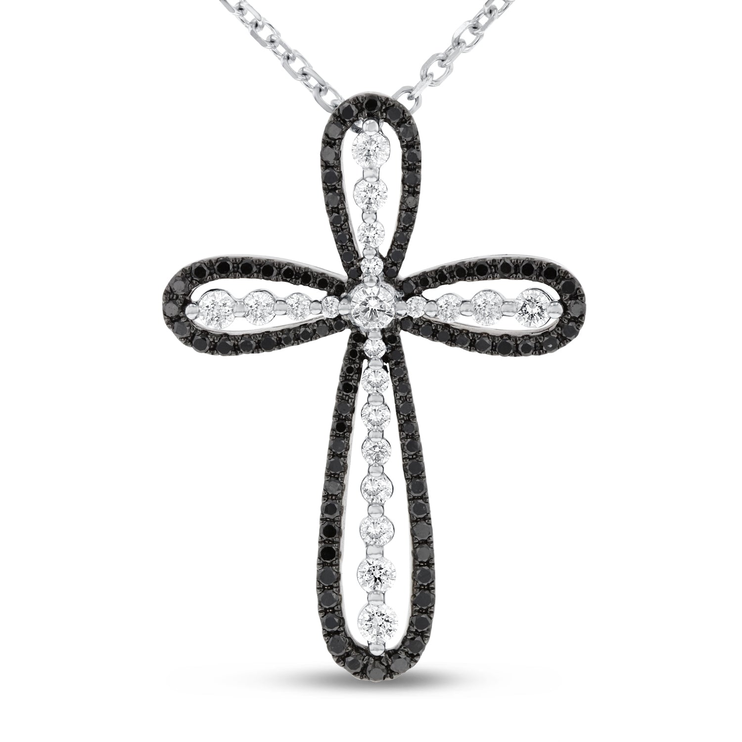 18K White Gold Cross Pendant, 0.96 Carats