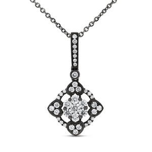 Black Rhodium Diamond Drop Pendant - R&R Jewelers