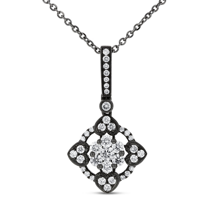 18K White Gold Diamond Pendant, 0.48 Carats