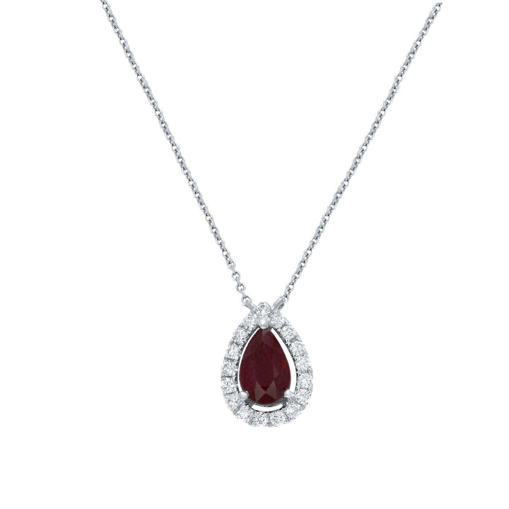 18K White Gold Diamond and Gem Pendant, 1.30 Carats - R&R Jewelers
