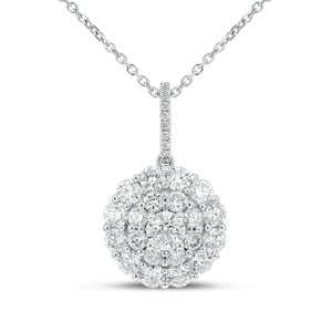 18K White Gold Diamond Pendant, 1.91 Carats