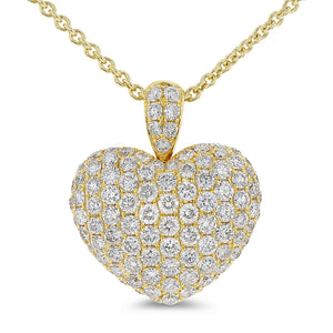 Puffed Diamond Heart Pendant - R&R Jewelers
