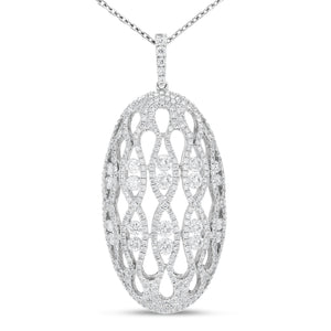 18K White Gold Diamond Pendant, 2.56 Carats
