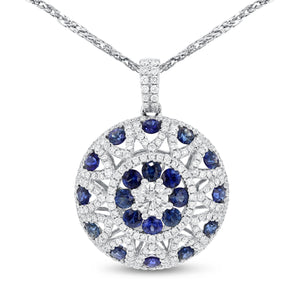 18K White Gold Diamond and Gem Pendant, 2.30 Carats