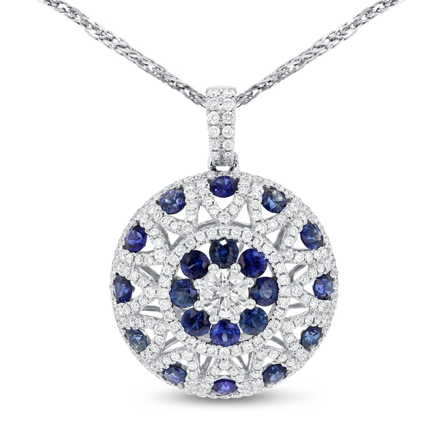 Diamond and Sapphire Circle Pendant - R&R Jewelers