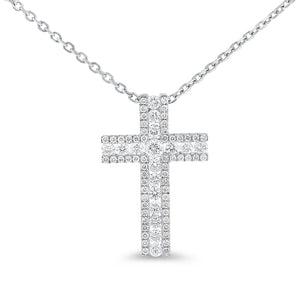 Channel Set Diamond Cross Pendant - R&R Jewelers