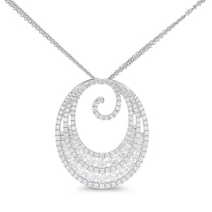 18K White Gold Diamond Pendant, 3.41 Carats