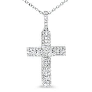 18K White Gold Cross Pendant, 0.55 Carats - R&R Jewelers