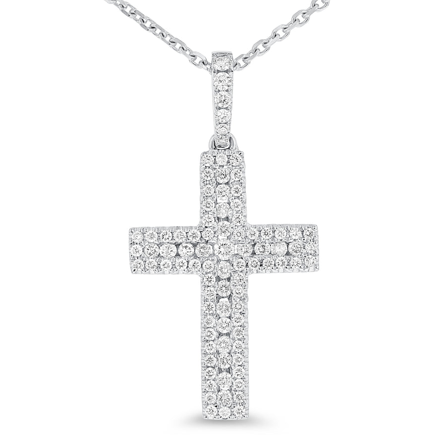 18K White Gold Cross Pendant, 0.55 Carats