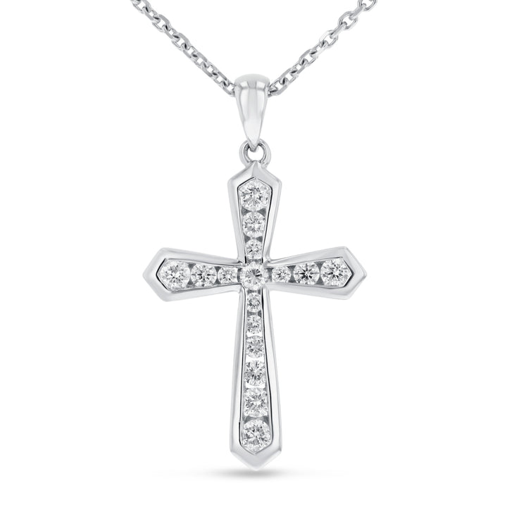 Channel Set Diamond Cross Pendant, 0.49 ct - R&R Jewelers