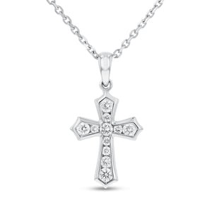 18K White Gold Cross Pendant, 0.30 Carats