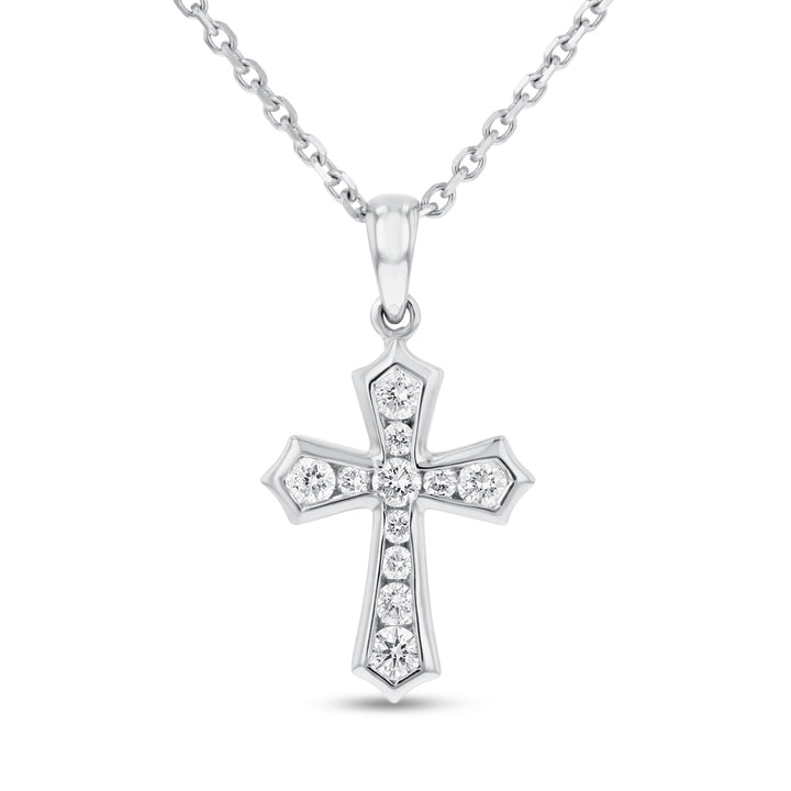 Channel Set Diamond Cross - R&R Jewelers