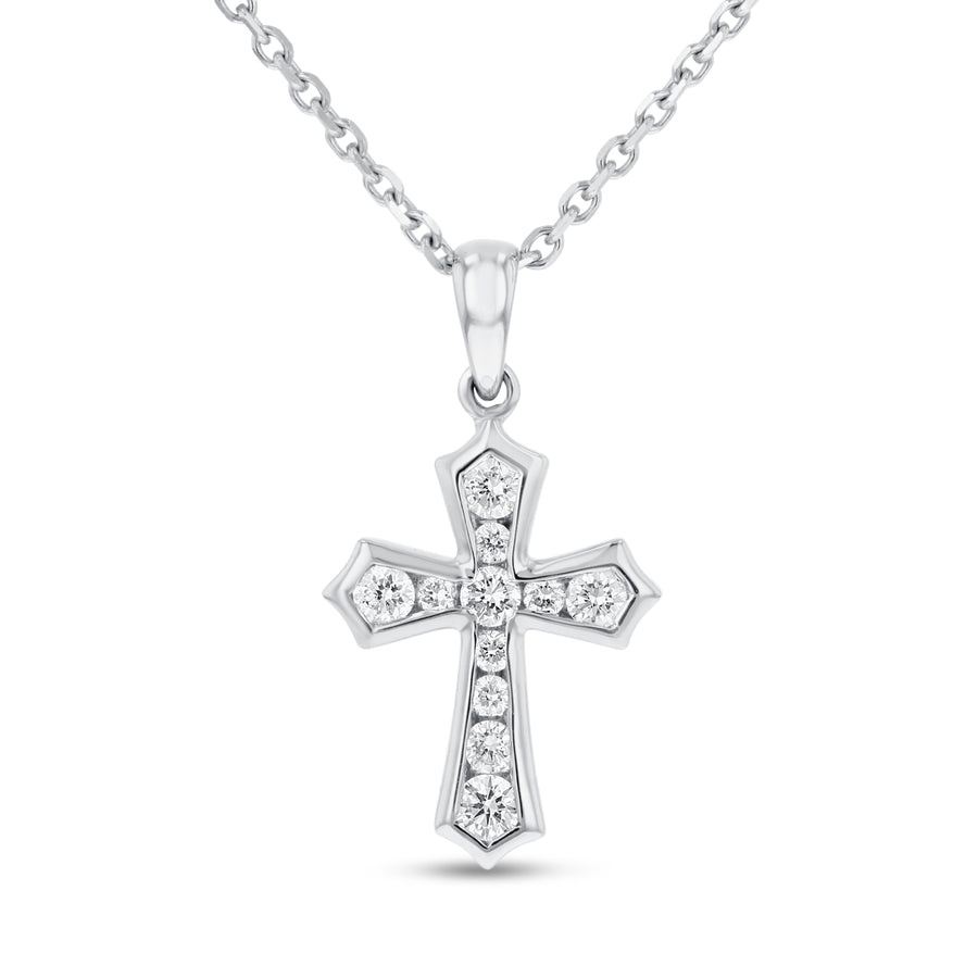 18K White Gold Cross Pendant, 0.30 Carats - R&R Jewelers