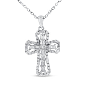 Round and Baguette Diamond Cross - R&R Jewelers