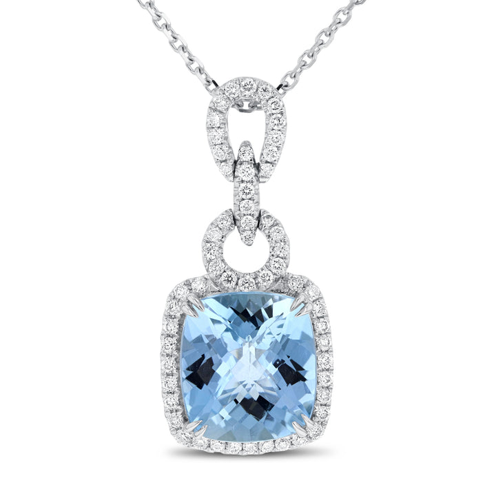 Aquamarine and Diamond Drop Pendant - R&R Jewelers