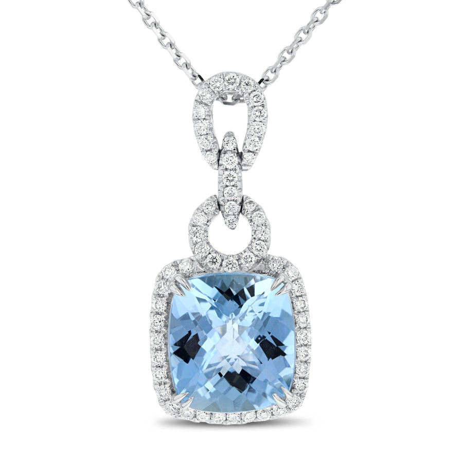 18K White Gold Diamond and Gem Pendant, 5.00 Carats