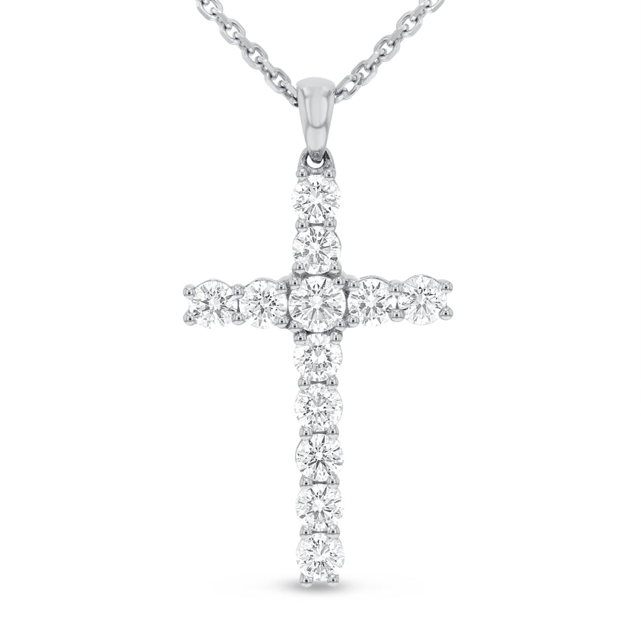 Shared Prong Diamond Cross - R&R Jewelers