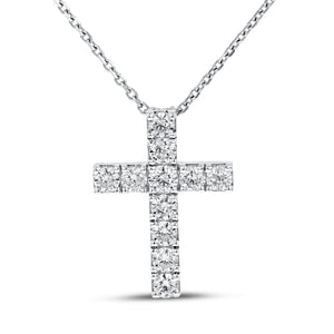18K White Gold Cross Pendant, 1.11 Carats
