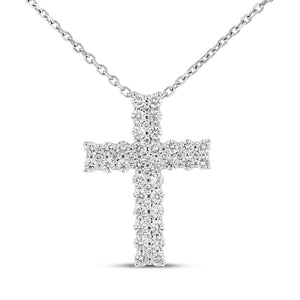 18K White Gold Cross Pendant, 0.93 Carats