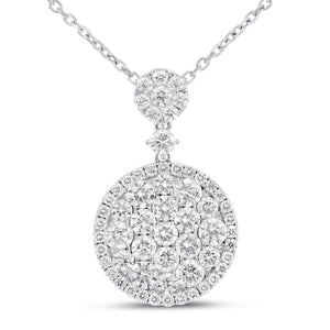 18K White Gold Diamond Pendant, 3.20 Carats